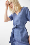 Linen V Neck Belted Dress